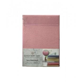 Простынь Gold Soft Life Terry Fitted Sheet 160*200*25см махровая на резинке розовая арт.ts-01511