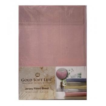 Простынь Gold Soft Life Terry Fitted Sheet 160*200*20см трикотажная на резинке розовая арт.ts-02042