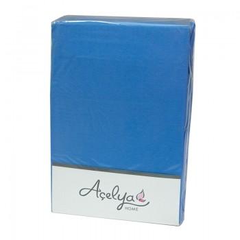 Простынь с наволочками Acelya полуторная 160*200*30см трикотаж на резинке + 2 нав 50*70 см голубая