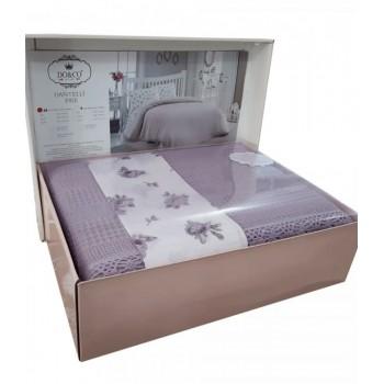 Комплект летнего постельного белья Do & Co Dantellі Lila евро ранфорс с покрывалом-пике лиловый арт.ts-01478