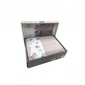 Комплект летнего постельного белья Do & Co Dantellі pudra евро ранфорс с покрывалом-пике пудровый арт.ts-02252