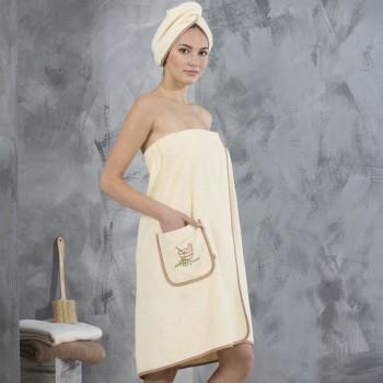 Набор полотенец для сауны Ideia махровый женский 2 предмета бежевый р.44-46 арт.8000012334.44-46