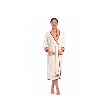 Халат Arya 13080 женский велюровый с шальке р. XXL Кремовый арт.1351196
