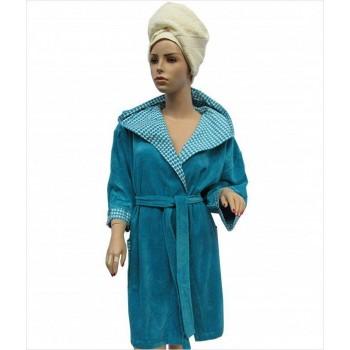 Халат Arya 13035 женский махровый с капюшоном р. L Темно-бирюзовый арт.1351190