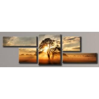 Картина модульная HolstArt Дерево на закате 49*151 см 5 модулей арт.HAB-077