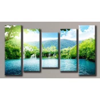 Картина модульная HolstArt Водопад 8 55*100,5см 5 модулей арт.HAB-060