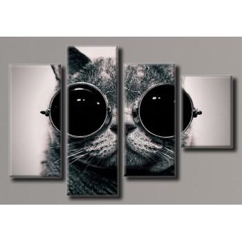 Картина модульная HolstArt Кот в очках 69,5*103,5см 4 модуля арт.HAF-133