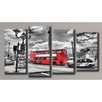Картина модульная HolstArt Лондонский автобус 55*100,5см 4 модуля арт.HAF-124