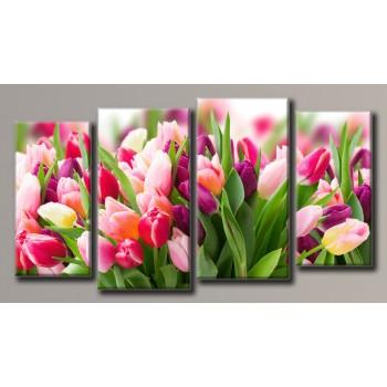 Картина модульная HolstArt Розовые тюльпаны 58*108см 4 модуля арт.HAF-114
