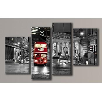 Картина модульная HolstArt Красный автобус 100*180см 4 модуля арт.HAF-089