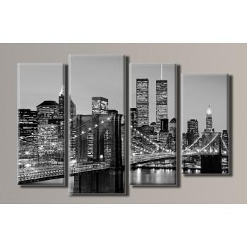 Картина модульная HolstArt New York City 59,5*90см 4 модуля арт.HAF-043