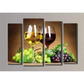 Картина модульная HolstArt Вино 5 54*80см 4 модуля арт.HAF-024