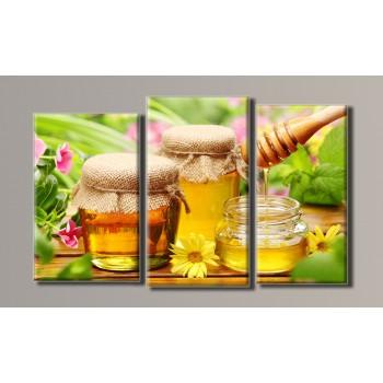 Картина модульная HolstArt Баночки с мёдом 54*90см 3 модуля арт.HAT-042