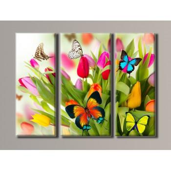 Картина модульная HolstArt Бабочки на тюльпанах 54*73см 3 модуля арт.HAT-036