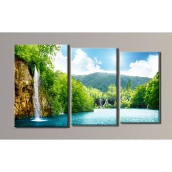 Картина модульная HolstArt Водопад 54*94см 3 модуля арт.HAT-013