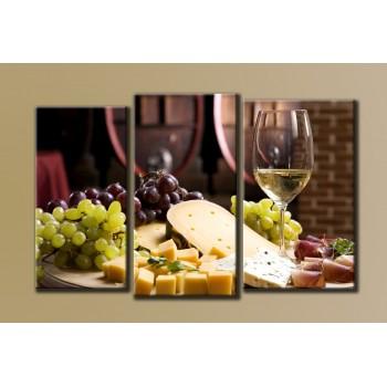 Картина модульная HolstArt Вино 54*85см 3 модуля арт.HAT-007