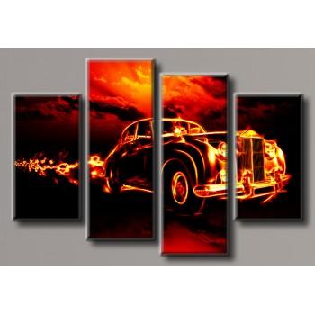 Картина модульная HolstArt Пламенное авто 70*103,5см 4 модуля арт.HAF-139