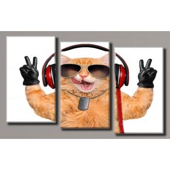 Картина модульная HolstArt Кот в наушниках 62*100,5см 3 модуля арт.HAT-181