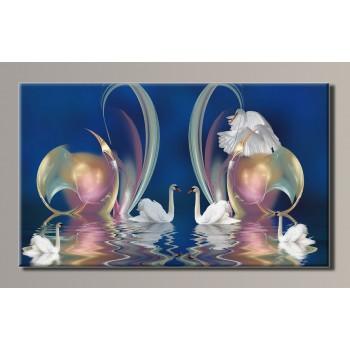 Картина (не раскраска) HolstArt Лебеди 89*54см арт.HAS-122