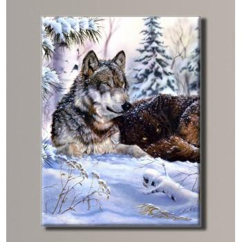 Картина (не раскраска) HolstArt Волки в зимнем лесу 41*54см арт.HAS-382