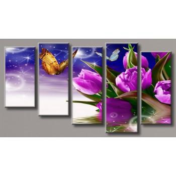 Картина модульная HolstArt Бабочки на тюльпанах 55*101,5см 5 модулей арт.HAB-118
