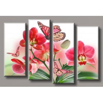 Картина модульная HolstArt Бабочки на орхидеях 72*106,5см 4 модуля арт.HAF-145