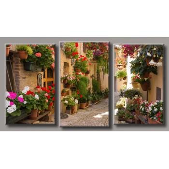 Картина модульная HolstArt Улица в цветах 55*100см арт.HAT-193