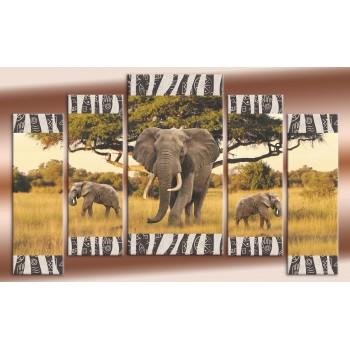 Картина модульная HolstArt Африканские слоны 90*141см 5 модулей арт.HAB-138