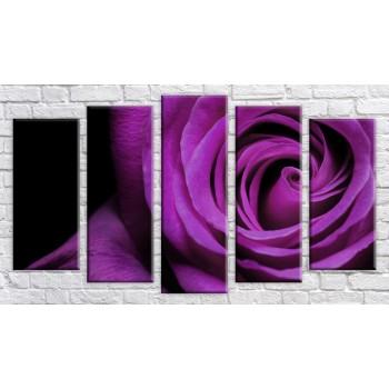 Картина модульная HolstArt Бордовая роза 55*102см 5 модулей арт.HAB-166