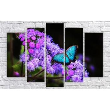 Картина модульная HolstArt Бабочка на цветке 100*150см 5 модулей арт.HAB-199