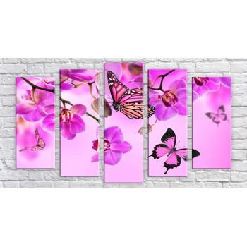 Картина модульная HolstArt Бабочки на орхидеях 55*100см 5 модулей арт.HAB-200