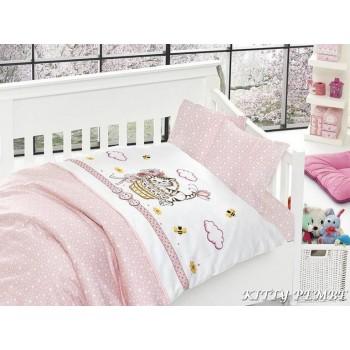Комплект постельного белья в кроватку First Choice Satin Bamboo детский сатин арт.Kitty Pembe