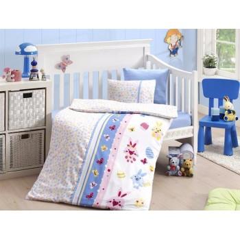 Комплект постельного белья в кроватку First Choice Satin Bamboo детский сатин арт.Sweet Toys Mavi