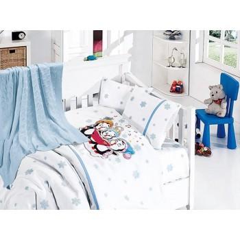 Комплект постельного белья в кроватку First Choice Nirvana Satin Bamboo детский сатин с пледом арт.Punguins mavi