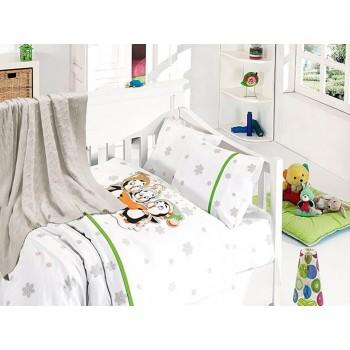 Комплект постельного белья в кроватку First Choice Nirvana Satin Bamboo детский сатин с пледом арт.Punguins yesil