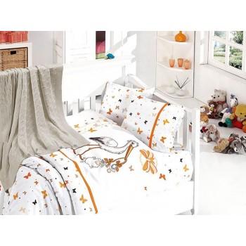 Комплект постельного белья в кроватку First Choice Nirvana Satin Bamboo детский сатин с пледом арт.Stork oranj