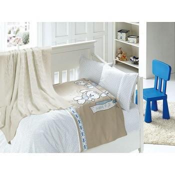 Комплект постельного белья в кроватку First Choice Nirvana Satin Bamboo детский сатин с пледом арт.Baby mavi