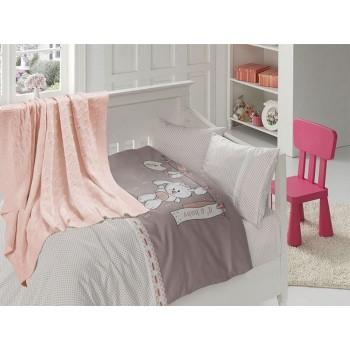 Комплект постельного белья в кроватку First Choice Nirvana Satin Bamboo детский сатин с пледом арт.Baby pudra