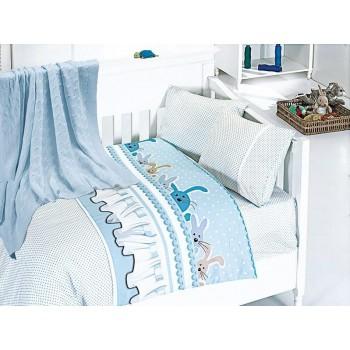 Комплект постельного белья в кроватку First Choice Nirvana Satin Bamboo детский сатин с пледом арт.Ginny mavi