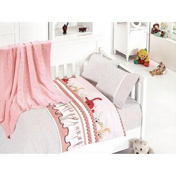 Комплект постельного белья в кроватку First Choice Nirvana Satin Bamboo детский сатин с пледом арт.Ginny pudra