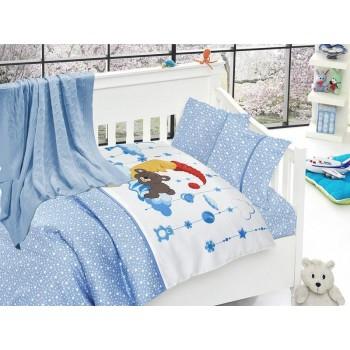 Комплект постельного белья в кроватку First Choice Nirvana Satin Bamboo детский сатин с пледом арт.Sleeper mavi