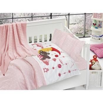 Комплект постельного белья в кроватку First Choice Nirvana Satin Bamboo детский сатин с пледом арт.Sleeper pembe