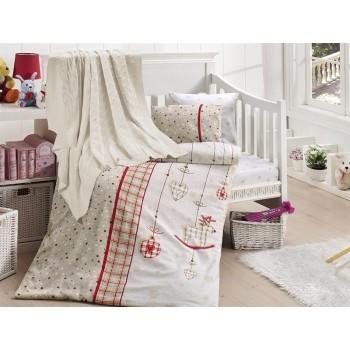 Комплект постельного белья в кроватку First Choice Nirvana Satin Bamboo детский сатин с пледом арт.Palmy kirmizi