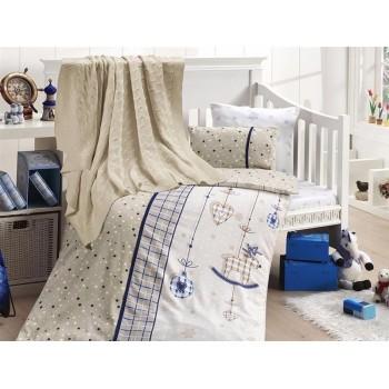 Комплект постельного белья в кроватку First Choice Nirvana Satin Bamboo детский сатин с пледом арт.Palmy lacivert