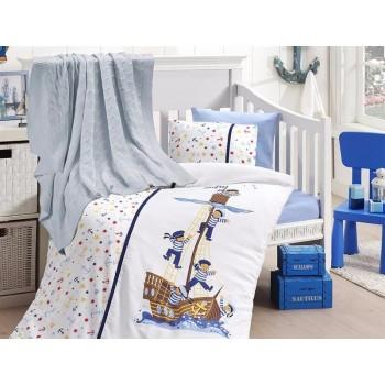 Комплект постельного белья в кроватку First Choice Nirvana Satin Bamboo детский сатин с пледом арт.Sailors