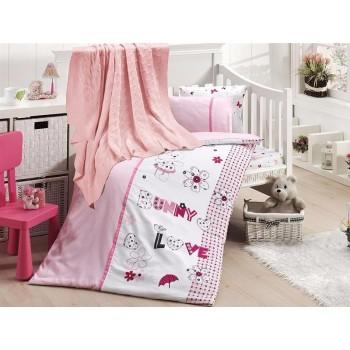 Комплект постельного белья в кроватку First Choice Nirvana Satin Bamboo детский сатин с пледом арт.Love bunny