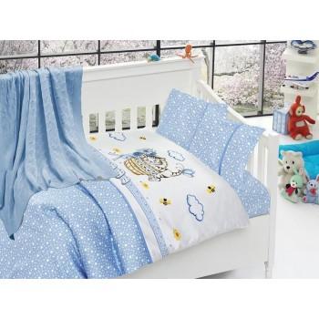 Комплект постельного белья в кроватку First Choice Nirvana Satin Bamboo детский сатин с пледом арт.Kitty mavi