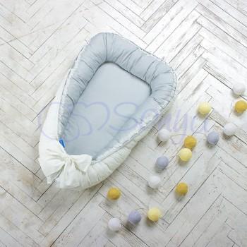 Кокон для новорожденных Маленькая Соня Mon Cheri 65*90 см поплин детский серый арт.502552