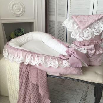 Кокон для новорожденных Маленькая Соня De Lux 65*90 см сатин детский пыльная роза арт.5031205