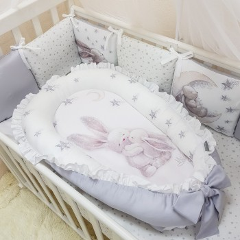 Кокон для новорожденных Маленькая Соня Magic 65*90 см сатин детский Зайка серебряный арт.5041236